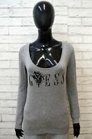 Maglione GUESS Felpa Donna Taglia Size M Pullover Sweater Cardigan Grigio Woman