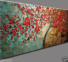RANYA MODERN ABSTRACT CANVAS ART HAND-PAINTED OIL PAINTING TREE NO FRAME 24X48IN