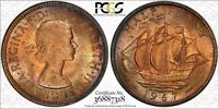"1967 GREAT BRITAIN HALF 1/2 ""PENNY"" PCGS MS64RB BU TONED ONLY 2 GRADED HIGHER!"