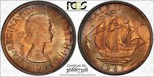 """1967 GREAT BRITAIN HALF 1/2 """"PENNY"""" PCGS MS64RB BU TONED ONLY 2 GRADED HIGHER!"""