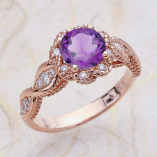 14K Vintage Rose Gold Engagement Ring Center Is A Natural Round Amethyst