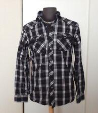 MARC ECKO Cut & Sew Lng Sleeve Button Down Plaid 2 Pocket Flip Cuff Shirt Size M