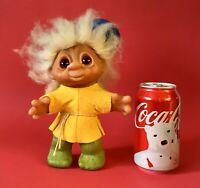 "⭐️Vintage 1980 DAM 24-4 Troll Doll 9"" DENMARK Brown Eyes Green Legs Blue Hat"