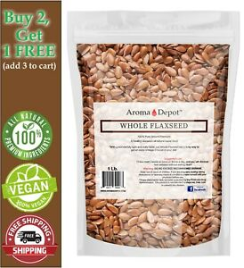 1 lb. Brown Whole Flax Seeds Omega-3 Non-GMO Linaza Raw Flaxseed Kosher 1 Libra