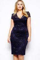 WOMENS NAVY BLUE LACE DRESS FLORAL EVENING COCKTAIL PARTY UK SIZE 12 & 14