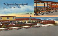 Linen Postcard The Breakers Apartment-Motel in San Diego, California~110991