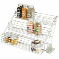 mDesign Metal 3 Tier Pull Down Spice Rack, Storage Shelf Organizer - Satin