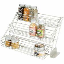 New listing mDesign Metal 3 Tier Pull Down Spice Rack, Storage Shelf Organizer - Satin