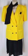 Vtg 80s Berg - Ray Flocks 3pc Women's Size 12 Yellow & Blue Skirt Scarf Set