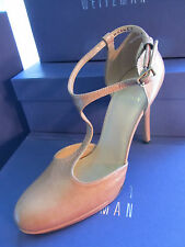 NEW STUART WEITZMAN SHOES 8.5 PATENT LEATHER OVALTEE STRAP BEIGE PASTRY NAPLA