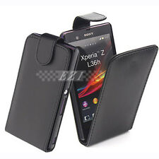 Premium Slim Leather Flip Case Cover Pouch For Sony Xperia Z