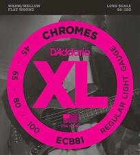 D'Addario ECB81 CHROMES FLATWOUND BASS STRINGS, REGULAR LIGHT GAUGE 4's - 45-100