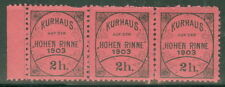 HUNGARY  1903 Hohn Rinne 2h black on pink (MBK #5), Strip of 3, og, NH,