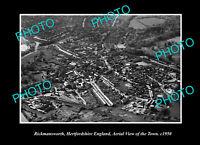 OLD POSTCARD SIZE PHOTO RICKMANSWORTH HERTFORDSHIRE ENGLAND AERIAL VIEW c1950