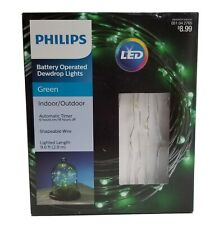 LED Battery Operated Dewdrop Lights w/Timer Philips 051042765 9.6 ft Wire Green