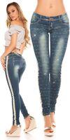 Koucla Jeans Damen Skinny Jeanshose mit Strass