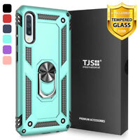 For Samsung Galaxy A50, Phone Case TJS DuoGuard Ring Holder Cover+Tempered Glass