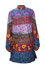 Men's 100% Cotton Shirt Indian Kurta Plus Size Printed Black Dress for Man's