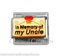 In Memory Of My Uncle Red Heart 9mm Italian Charm Stainless Modular Link