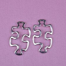 30Pcs Tibetan silver Jigsam Puzzle Piece Autism Symbol Cut Out Charms Pendant