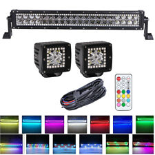 """22"""" LED Light Bar & 2x 3"""" Pods RGB Halo Color Changing Chasing Fit For Jeep ATV"""