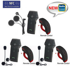 3pcs BT Bluetooth Interphone FM Radio Motorcycle Helmet Intercom Headset 1000M