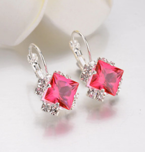 3.30Ct Princes Cut Red Ruby Halo Hoop Earrings 14k White Gold Finish