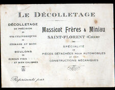 "ST-FLORENT-sur-CHER (18) USINE de DECOLLETAGE ""MASSICOT & MINIAU"" Carte Visite"