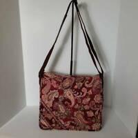 Vera Bradley Women's Crossbody Messenger Bag  Red Paisley Square Pouch Pockets