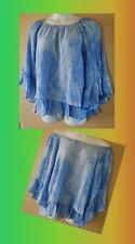 WOMEN'S PLUS SIZE 2X 18W 20W BLUE TIE DYE RUFFLE FLOWING SUMMER BLOUSE CLOTHING