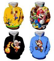 Women/ Men's Super Mario 3D graphic Print Hoodie Sweatshirt Pullover tops S-5XL