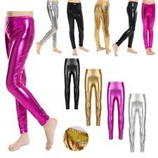 Kids Girls Metallic Leggings Solid Skinny Long Pants Gymnastics Stretch Trousers