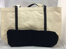 Canvas Tote Bag ECO~Friendly Heavy Duty Pockets Shoulder Carry Blk Green 19x12