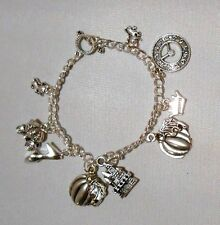 DISNEY'S CINDERELLA MOVIE THEMED Silvertone (9 Charms) Charm BRACELET