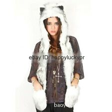 Adult Plush Women Animal Wolf Cat Hat with Mittens Gloves Fuzzy Fluffy Beanie