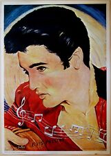 1960 Original HEBREW ART POSTER Israel ELVIS PRESLEY Musical QUOTE Guitar JEWISH