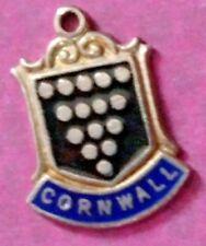 STERLING SILVER VINTAGE BRACELET CHARM  B72   A BRITISH SHIELD CORNWALL