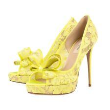 NIB VALENTINO Yellow Mesh Lace Platform Heel Shoes Size 8/38