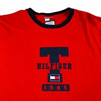 Tommy Hilfiger T Shirt Mens Size Large Vintage Graphic Spell Out Red Big Logo