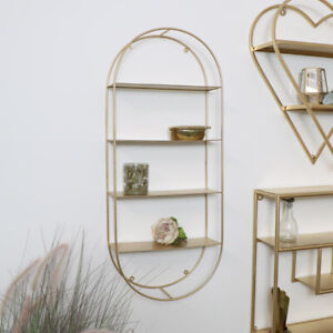 Gold Metal Oval Wall Shelving Unit shelf storage display home decor glam
