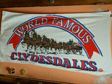 Vtg Budweiser Beach Towel Clydesdale Horse pulling Beer Wagon world famous 30X53