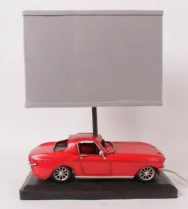 Pottery Barn Kids *photo studio sample* red Car Table lamp with gray linen shade