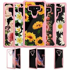 For Samsung Galaxy Note 9, Clear Case w/ Pink Silicone Edges [Floral Designs]