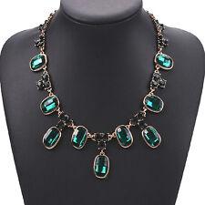 Strass grün Glamour Statementkette Kette Halskette Collier Gold plattiert neu