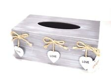 Shabby Chic GREY Tissue Box Wooden With 3 Decorative Hearts And LOVE Word #12