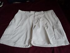 Mens ~Chaps Shorts ~ Polyester ~  Flat Front Dressy cargo~ SZ 42 ~ Beige ~ AS
