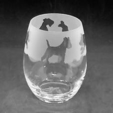 More details for wire fox terrier frieze boxed 36cl crystal stemless wine / water glass
