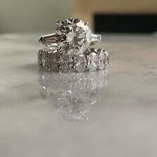 2.51 Carat Genuine Round Diamond w/Baguettes Engagement Ring PLATINUM  VS2 F