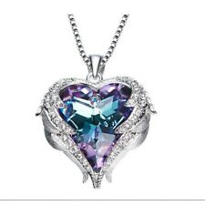Fashion Europe Heart Design Gorgeous Mystic Amethyst Silver Wedding Necklaces