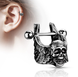 Helix cuff piercing 316L Surgical Steel with winged skull
